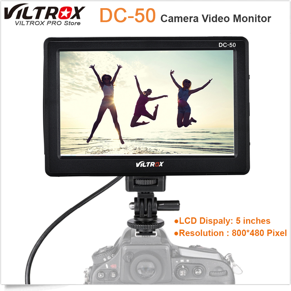 Viltrox DC-50 Portable 5'' Clip-on LCD HDMI Camera Video Monitor for Canon Nikon Sony A7 A9 A7II A7SII A6500 A6300 DSLR BMPCC portable viltrox dc 50 clip on camera monitor 5 tft lcd monitor with hdmi video input for canon nikon sony dsrl cameras dv