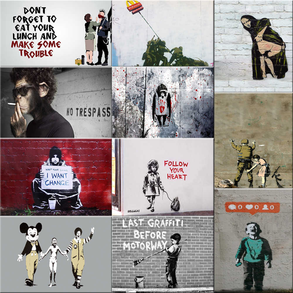 Banksy Graffiti Canvas Art Prints paintings wall art poster Pop decoration pictures wall art decorative Framed freeship