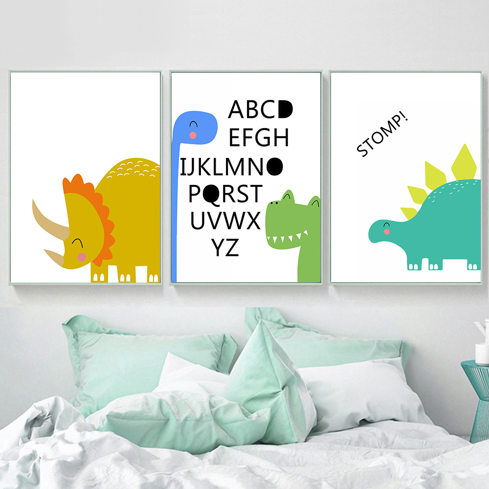 Dinosaur Canvas Art Print Poster Decor Nordic Nursery Picture Baby Room Posters And Prints Kids Room Wall Art Canvas Unframed in Painting Calligraphy from Home Garden