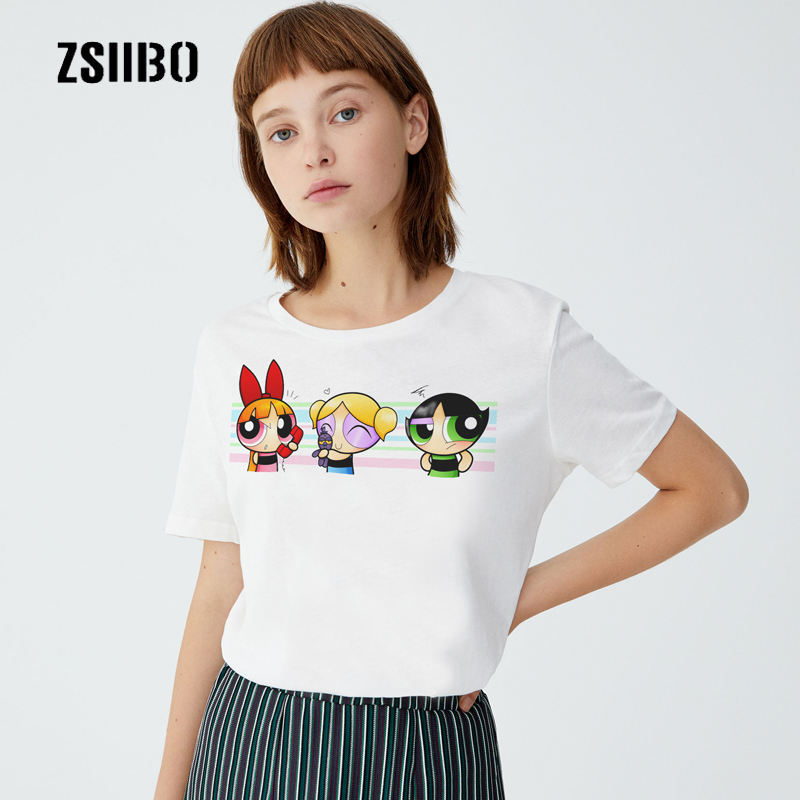 Summer T-Shirt Tees Tops Short-Sleeves Funny Powerpuff Girls Big-Code Cartoon New-Fashion