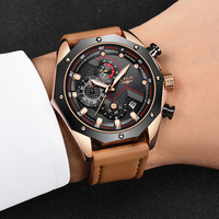 LIGE Mens Watches Top Brand Luxury Quartz Gold Watch Men Casual Leather Military Waterproof Sports Wristwatch Relogio Masculino