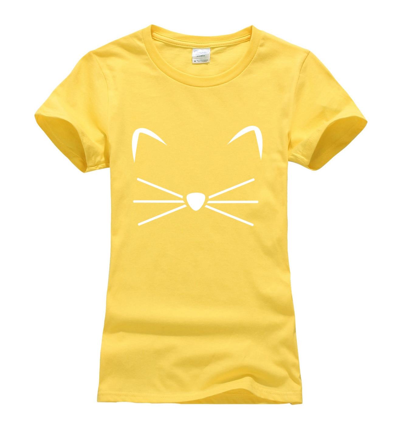 Лето 2017 г. Kitty котенок мяу принтом Kawaii футболка Воме рубашка забавный придерживаться цифры Милая футболка женская мода бренд Harajuku топы