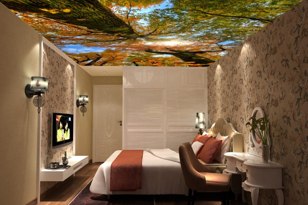 Modern 3D Wallpaper Nature Forest Sky Landscape Sky Ceiling Mural Home Interior Decor Living Room Ceiling Lobby Mural custom 3d stereo ceiling mural wallpaper beautiful starry sky landscape fresco hotel living room ceiling wallpaper home decor 3d