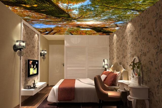 Us 34 88 Modern 3d Wallpaper Nature Forest Sky Landscape Sky Ceiling Mural Home Interior Decor Living Room Ceiling Lobby Mural In Wallpapers From