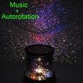 Auto rotación Música de noche Romántica Lámpara de Mesa de dormitorio Cielo estrellado proyector de estrellas luz de la noche del bebé niños de La Novedad de La Lámpara