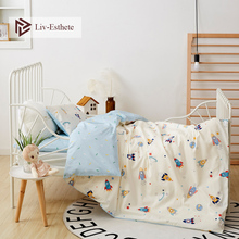 Liv-Esthete 2019 New 100% Cotton Rocket Planet Kids Cartoon Blue Bedding Set Duvet Cover Pillowcase Bed Linen For Mom Baby 3Pcs