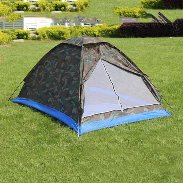 Single Layer 2 People Waterproof Camouflage C&ing Hiking Tent Lightweight Outdoor Beach Travel Picnic Fishing Tent & Single Layer 2 People Waterproof Camouflage Camping Hiking Tent ...