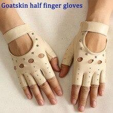 Guantes de cuero de medio dedo para mujer, guantes finos de piel de cabra, nuevos guantes huecos para deportes, pantalones cortos, guantes para conducir