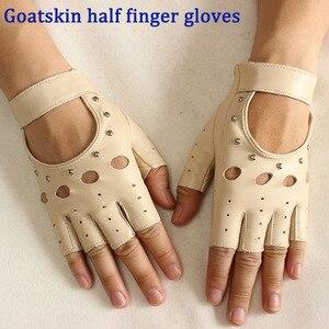 Image 1 - Mezze dita guanti in pelle primavera e lestate delle donne sottili guanti di pelle di capra new hollow brevi sport di guida del driver di