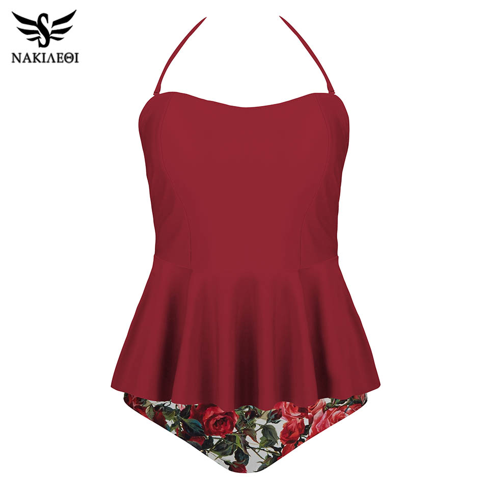 NAKIAEOI 2019 Sexy New Swimsuit Women Sets Swim Vintage Beach Wear Bathing Suits Flower Print Tankini Bandage Monokini Swim Suit-in Body Suits from Sports & Entertainment on AliExpress - 11.11_Double 11_Singles' Day