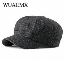 Wuaumx Tweed Octagonal Hats For Women Men Eight-blade Cap Newsboy Caps British Detective Autumn Winter Herringbone Flat