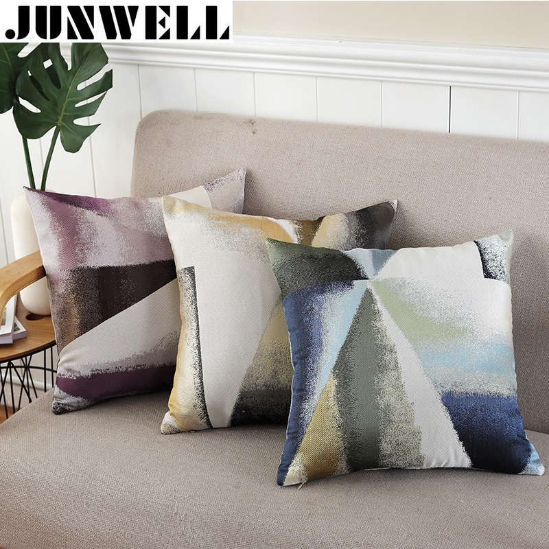 Junwell Polyester Jacquard Cushion  Pillow Sofa Office Back Braided Cushion Coussin Cojines Decorative 45x45cm Square