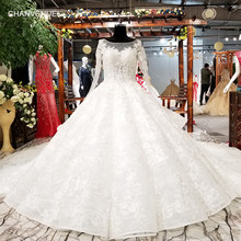 LS81214 long sleeves wedding dress appliques champagne lace latest  sweetheart ball gown lace up wedding dresses bridal gown 2018 f85e517a193a