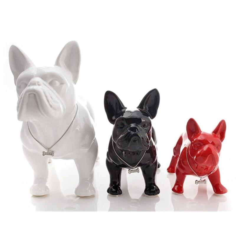 Ceramic French Bulldog Dog Statue Home Decor Crafts Objects Ornament Porcelain Animal Figurine Garden Decoration L3410