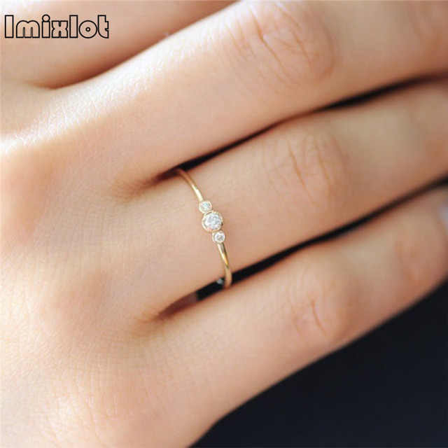 Simple Cubic Zirconia Small Stone Thin Ring Gold Engagement Rings For Women Boho