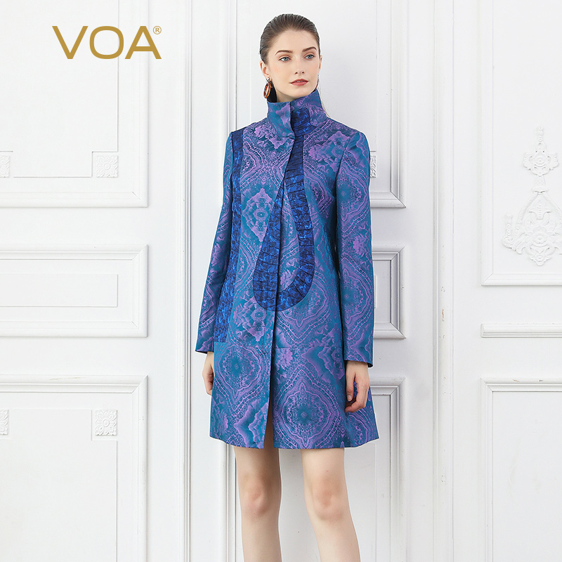 VOA Silk Jacquard Purple   Trench   Coat Women Elegant Windbreaker Retro Overcoat Autumn Palto Vintage Ladies Vestiti Casaco F331