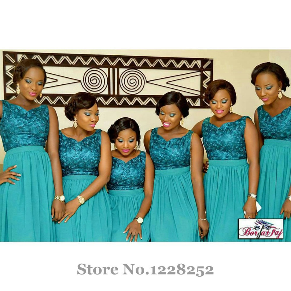 Fashion Turquoise Bridesmaid Dresses V neckline Appliqued Lace Plus ...