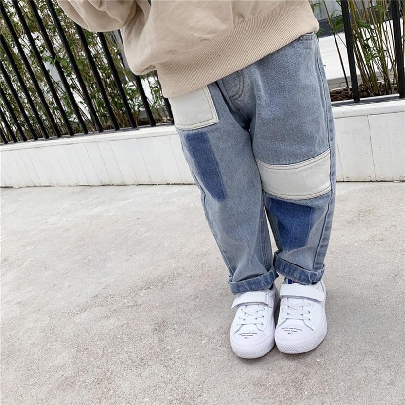 2019 Mode Jungen Jeans Frühling Und Herbst 2019 Neue Baby Jeans Patch Nähte Design Lose Gewaschen Alte Jeans Moderate Kosten