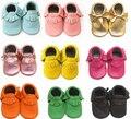 Cuero genuino de la calidad de bebé mocasines zapatos para niñas y los niños primeros caminante recomendado