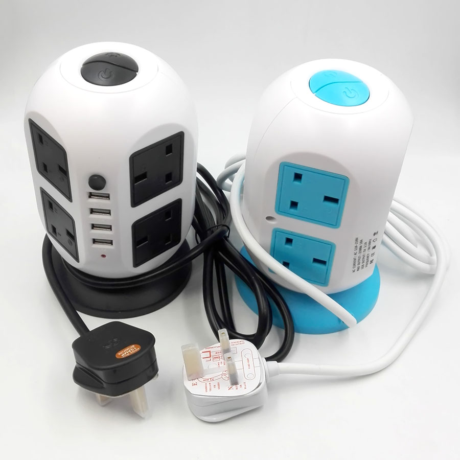 UK Type Smart Electrical Tower Socket 5 Layer, With 19 Outlets 2 USB ...