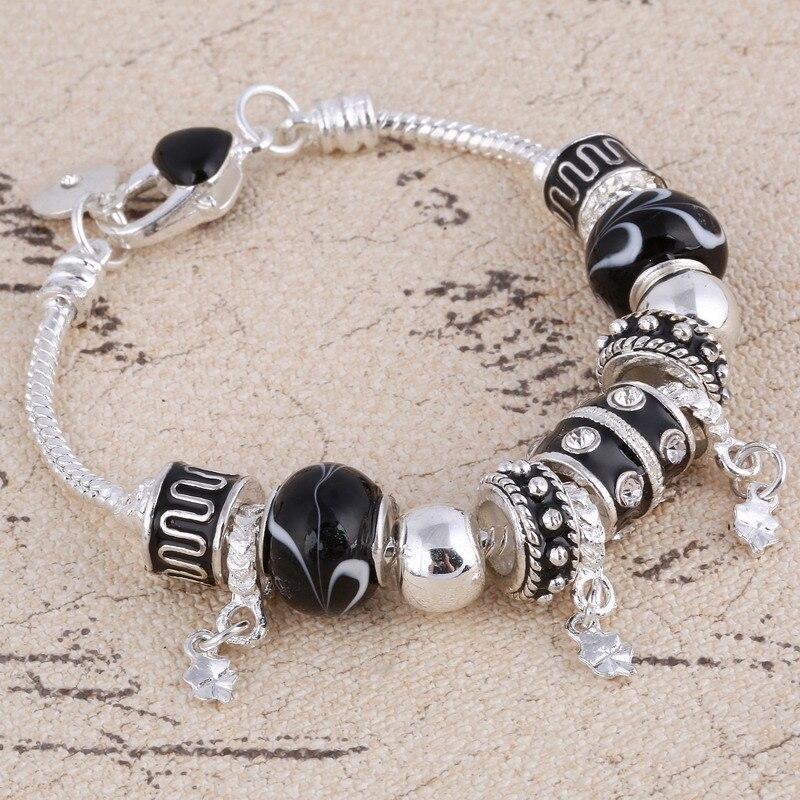 ZOSHI Pink Crystal Charm Silver Bracelets & Bangles for Women With Aliexpress Murano Beads Silver Bracelet Femme Jewelry 13