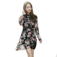 Women Summer Spring Long Sleeve Chiffon Dress Flower Print Lace Patchwork Irregular Hem Dresses Vestido Renda