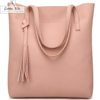 High Quality PU Leather TopHandle Bag Big Bags Women Tote Tassel Casual High Grade Embossed Solid