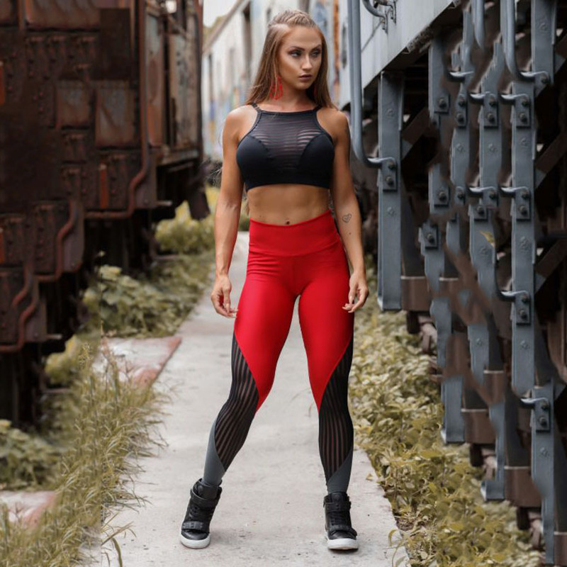 Women Mesh Leggings  Fitness Workout Leggings High Waist Patchwork Legging Breathable Sportswear Jeggings