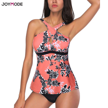 Купить с кэшбэком JOYMODE Plus Size Swimwear 2018 Push Up New Floral Print Large Swimsuit Women Sexy Cross Bandage Beach Swim Suit Beachwer