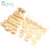 MQYQ 613 Blonde Bundles With Frontal Closure Body Wave Russian Human Hair Bundles With Closure Hair Extension With Frontal