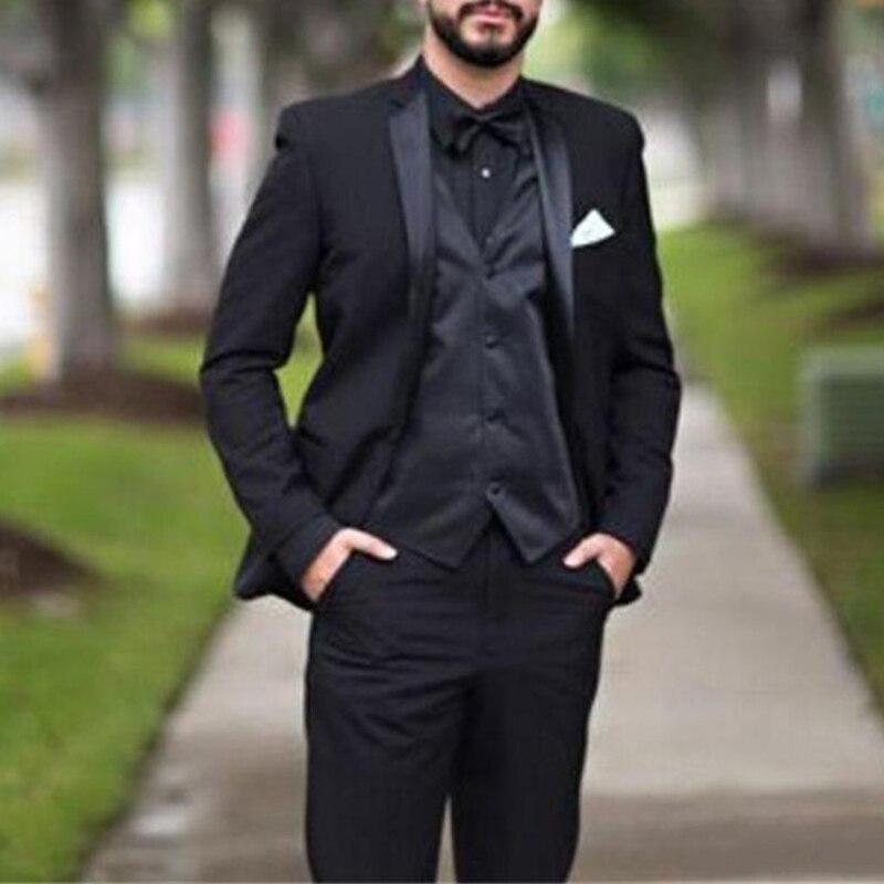 2017 Black Wedding Men Suits Notched Lapel Three Piece Custom Made Groom Tuxedos New Arrival (Jacket + Vest + Pants)