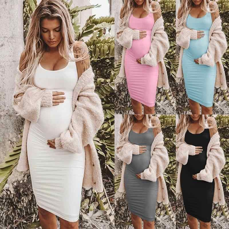5XL Plus size Cotton Womens Summer Solid Color Sexy maternity Dresses Pure Color Sleeveless pregnancy Dress Wear Bodycon Dress