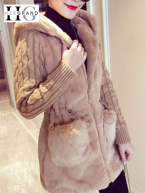 HEE GRAND Faux Fur Coats Women 2019 Winter Plus Size S-4XL Hooded Outwear Patchwork Thick Warm Luxury Knitted Coats WWC159
