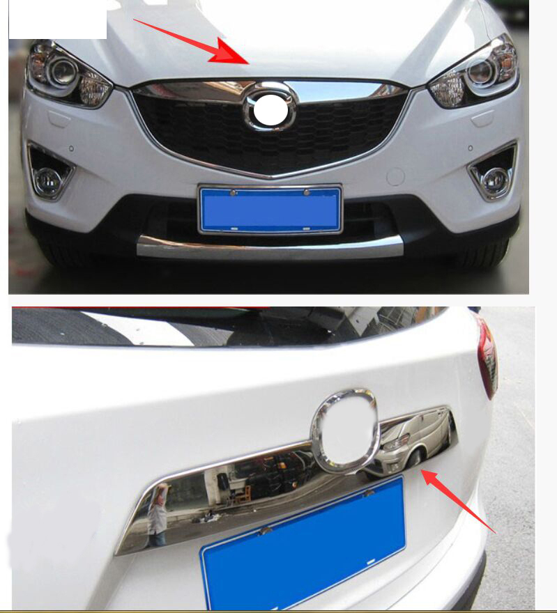 Bright chrome Stainless Rear&Front Bumper molding moulding trim decoration Protector trunk Lid Grille Trims For mazda CX-5 CX5 car stainless steel rear trunk lid molding cover decoration trims for bmw x5 f15 2014 2015 car styling accessiores