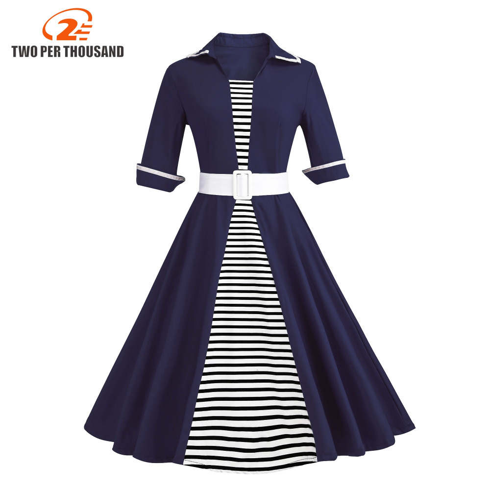 Us 2195 40 Offautumn 4xl Plus Size 3xl Stripe Print Half Sleeves Lapel Vintage Dress 50s Audrey Retro Dresses Pattern Work Party Vestidos In