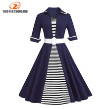 Autumn 4XL Plus Size 3XL Stripe Print Half Sleeves Lapel Vintage Dress 50s Audrey Retro Dresses Pattern Work Party Vestidos
