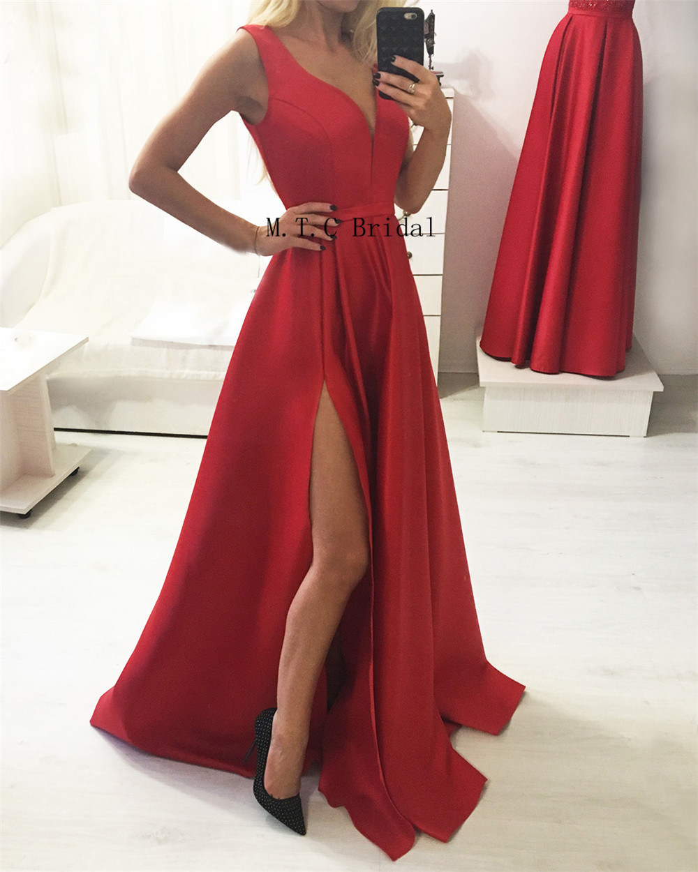 Red Long Prom Dresses 2019 New V Neck Side Split Satin Simple Evening Gowns Custom Made Women Wedding Party Dress Cheap