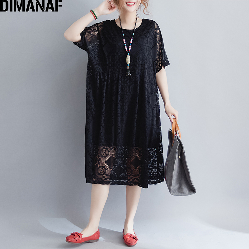 DIMANAF Women Dress Summer Plus Size 2018 New Female Elegant Lace Vestidos Loose Oversized Hollow Out Sexy Lady Dresses Clothing
