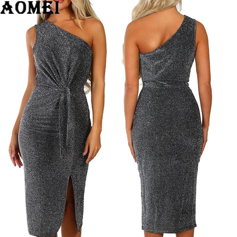 4f6a5ec853 Women Glitter Dress Party One Shoulder Split Tight Backless Ladies Fashion  Evening Clubwear Sexy Elegant Night