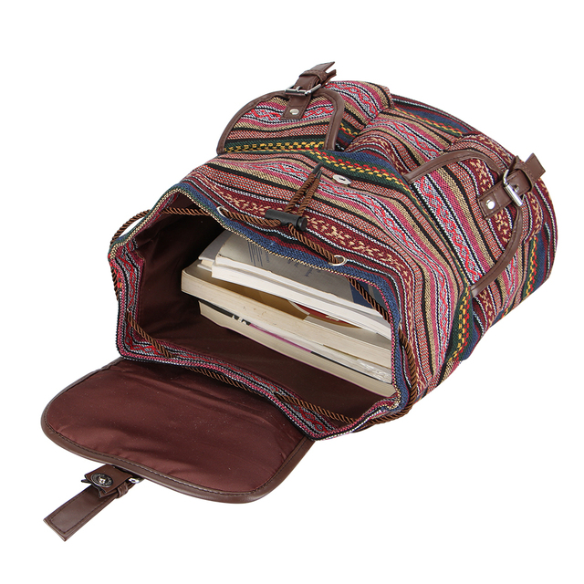 Women's Striped Ethnic Style Backpack 6