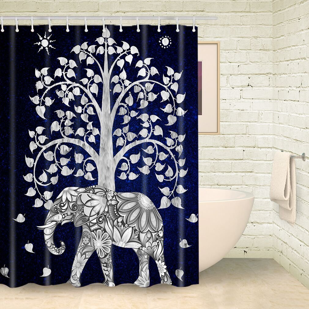 Good Luck Elephant Mandala Tree Of Life Shower Curtain Bohemian Artwork Polyester Waterproof Mildew Resistant Bath Decor In Curtains From Home