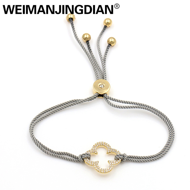 WEIMANJINGDIAN New Arrival Wax Rope Chain Adjustable Size Bracelets with Cubic Zirconia Crystal Pave 4 Leaf Clover