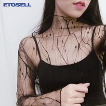 Sexy Transparent Mesh T Shirts Dot Stars Shirt Korean Chic Design feminine Tops Long Sleeve Breathable Perspective Bottom Shirts недорого
