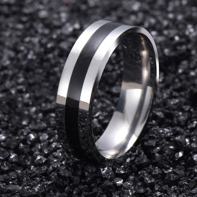 Vintage White Gold Color 316l Stainless Steel Ring Mens Jewelry For Women Wedding Band Male