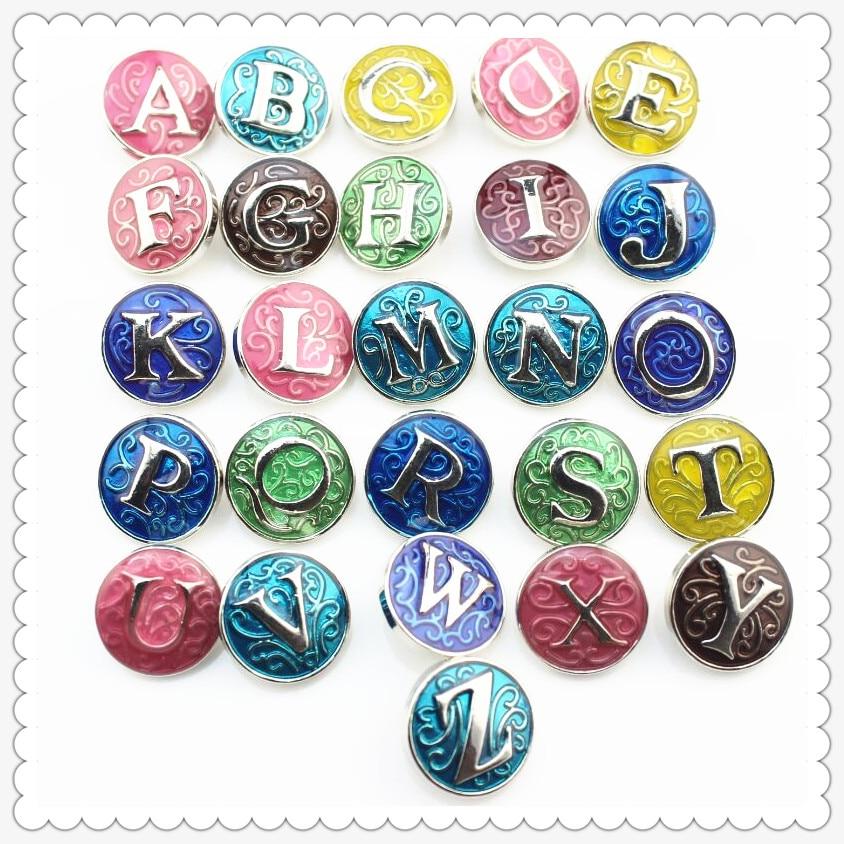 130pcs Mix Enamel A Z Alphabet Letters Snap Buttons Charms fit 18mm Ginger Buttons Snap Bracelet