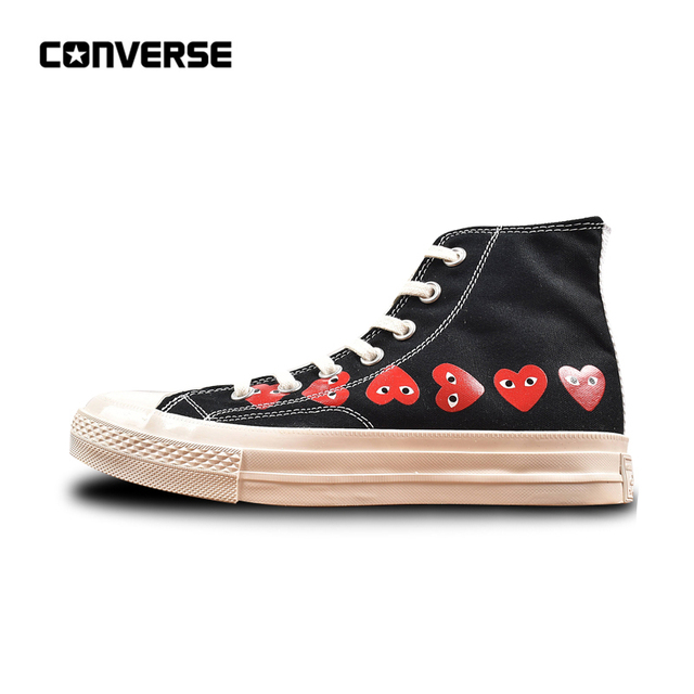 Converse All Star CDG X Chuck Taylor 1970s HiOX 18SS Skateboarding Shoes  Sport Black High-Top Authentic For Men and Women ad31e5e75