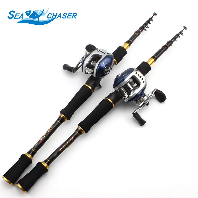 Carbon Rod M power lure 7g  28g 1.8M 2.1M 2.4M 2.7M Portable Telescopic Fishing Rod Casting Rod Casting Reels Set  -in Fishing Rods from Sports & Entertainment