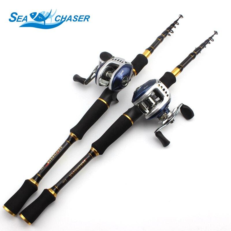 Tige en carbone M puissance leurre 7g-28g 1.8 M 2.1 M 2.4 M 2.7 M Portable télescopique canne à pêche coulée tige de moulage bobines ensemble