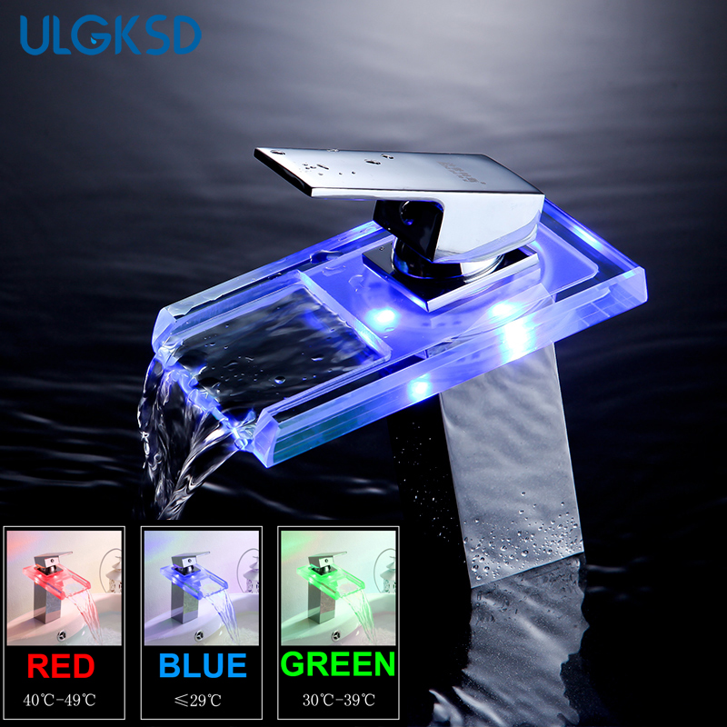 ulgksd Bathroom Basin faucet LED Chrome vanity faucet bathroom sink faucet basin mixer tap brass modern bathroom mixer taps цена 2017