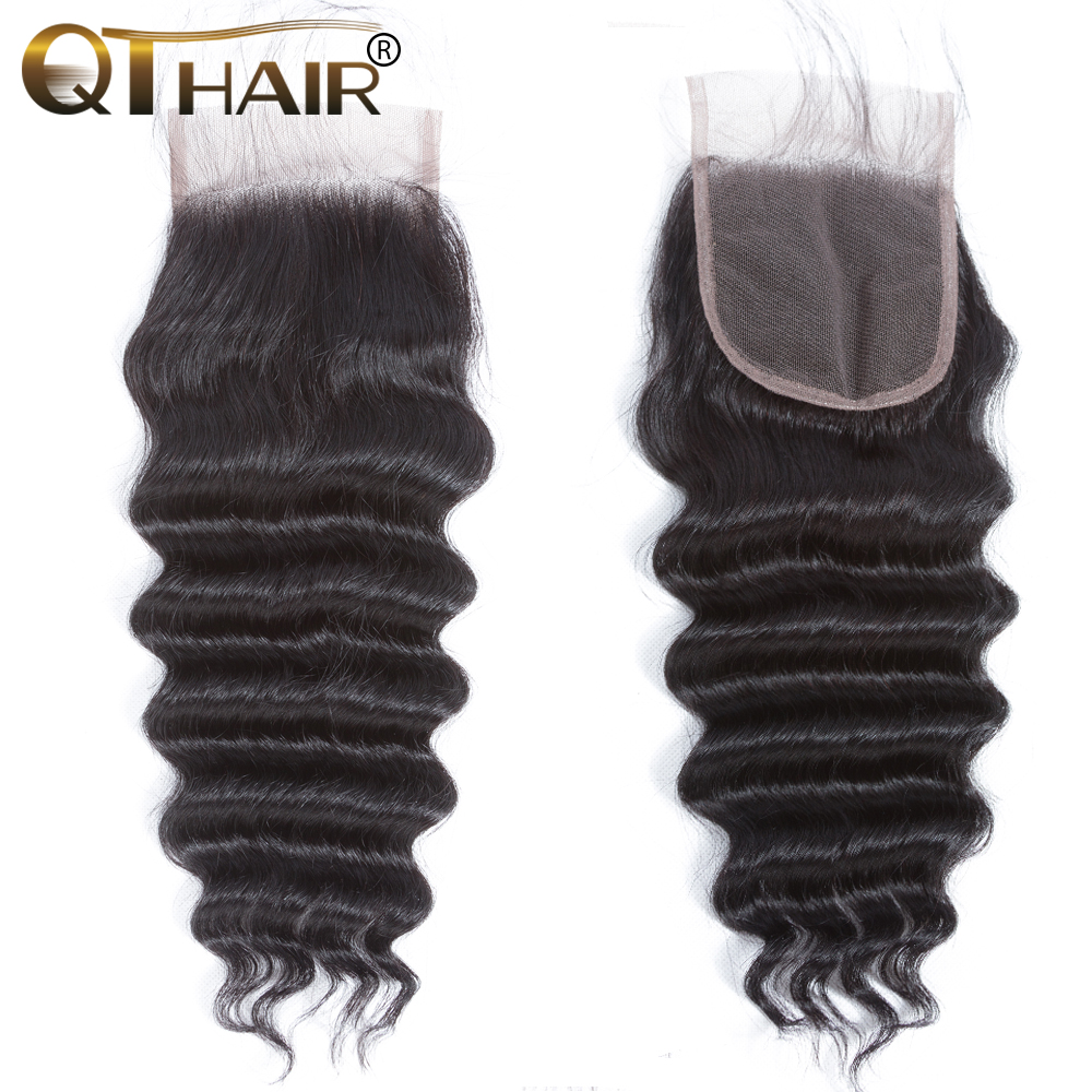 QT Brazilian Loose Deep More Wave Closure 4*4 Swiss Lace Free Part Remy Human Hair Lace Closure Natural Color Free Shipping
